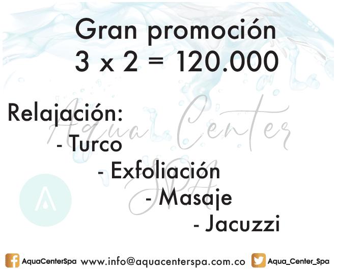 Promoción Spa en Bogota Aqua Center 3 Personas y solo pagan 2
